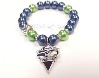 Seattle Seahawks Bracelets, Football Bracelets,Team Bracelets, Stretchy, Womens Bracelets, Handmade, Custom