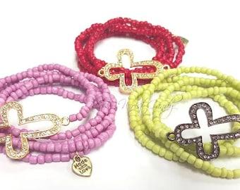 Cross Seed Bead Bracelet Set, Bracelet Stack, Minimalist Jewelry, Red, Stretchy,Turqoise, Womens Bracelets, Handmade, Custom, Beaded Jewelry