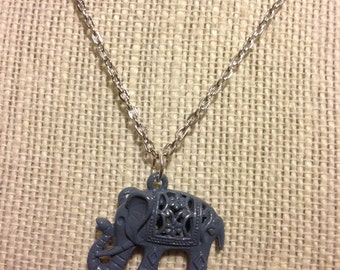 """18"""" Hand-Painted Elephant Necklace"""