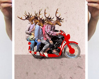 Kitsch Deer, Deer Art, Deer Print,  Antler, Stag, Deer Art Print, Deer Artwork, Wall Decor, Wall Art, Deer Wall Hanging,Motorbike, Funny,Men