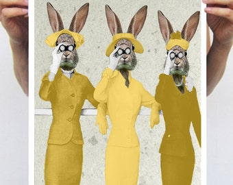 Rabbit Print, Rabbit Art Print, Rabbit Bunny Print, Rabbit Art, Bunny Print, Rabbit Wall Art, Yellow, Women,Telephone, Wall Art, Art Print