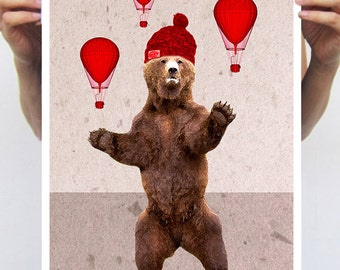 Bear with airballoons : Art Print Poster A3 Illustration Giclee Print Wall art Wall Hanging Wall Decor Animal Painting Digital Coco de Paris