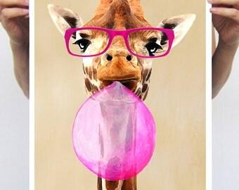 Giraffe with bubblegum : Art Print Poster A3 Illustration Giclee Print Wall art Wall Hanging Wall Decor Animal Painting Digital Art Coco