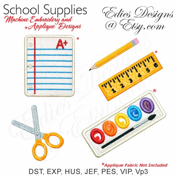 School supplies machine embroidery appliquÉ by ediesdesigns