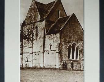 Antique Somerset Print of Hinton Priory, Carthusian Wall Art, Catholic Decor, Available Framed, Sepia Art, Hinton Charterhouse, Rural Gift