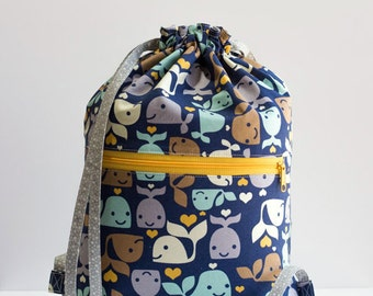 Whale Drawstring Backpack, Blue, Yellow, Gray, Brown Whale Bag, Gray Hearts and Polka Dot Bag, Cotton Fabric, Handmade