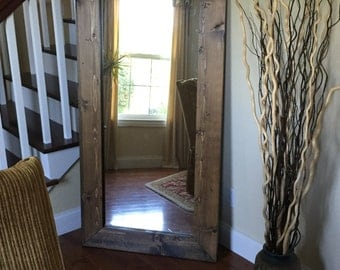 the lake cabin mirror rustic floor mirror with knotty distressed wooden frame