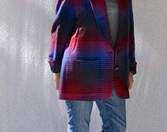 80s PENDLETON Wool Blazer | Mod Tartan Plaid Blazer. Western Wool Jacket. Boho Hippie Wool Flannel. Aztec Wool Blazer Jacket | Large. XL