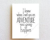 Winnie the Pooh quote print - adventure, typographic print, Inspirational Art, nursary//kids room wall art, wedding//anniversary gift