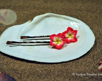 Hawaiian Jewelry - 15mm Polymer Clay Plumeria Flower Bobby Pins - Red with Yellow Center