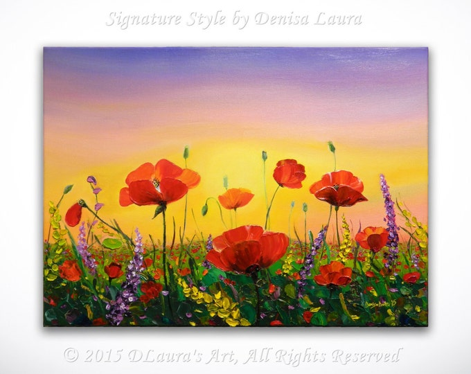 Featured listing image: Abstract Poppy Sunrise Palette Knife Landscape Fine Art Bright ORIGINAL Oil Flower Painting on 28x20 Canvas by Denisa Laura