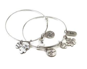 SET OF 2 - Friendship Bracelet - Charm Bracelet - Best Friend Gift - BFF Bracelet - Personalized - Gift for Her - Best Friend Jewelry