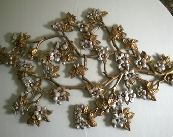 Retro Dogwood Blossoming Branch Wall Art --- 1960's 1970's Nature Home Decor --- Vintage Natural Whimsy Magical Forest --- Sakura Okiya Gion