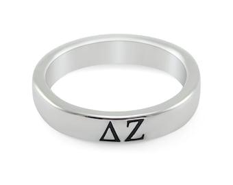 Delta Zeta Sterling Silver Skinny Band Ring with Black Enameled Letters