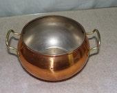 Vintage Brass pot with handles, rust, 1960s, dents, no lid, brass container, brass home decor, kitchen brass pot
