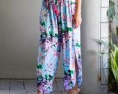 Split Leg Yoga Pants, Wide Leg Ladies Trousers - Aqua Cherry Blossom Print- Trendy Beach Pants, Harem Pants, Floral Palazzo Pant