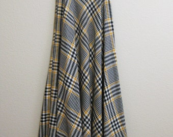 Yellow Plaid Maxi Skirt Full Small Medium