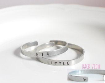 Sorority Big Little Sister Stamped Bracelet Bangle • Sorority Gift • Handstamped Jewelry • Silver Bangle • Big Little Gift