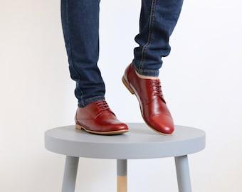 Flat womens shoes Burgundy Leather handmade ADIKILAV shoes on sale 30% off