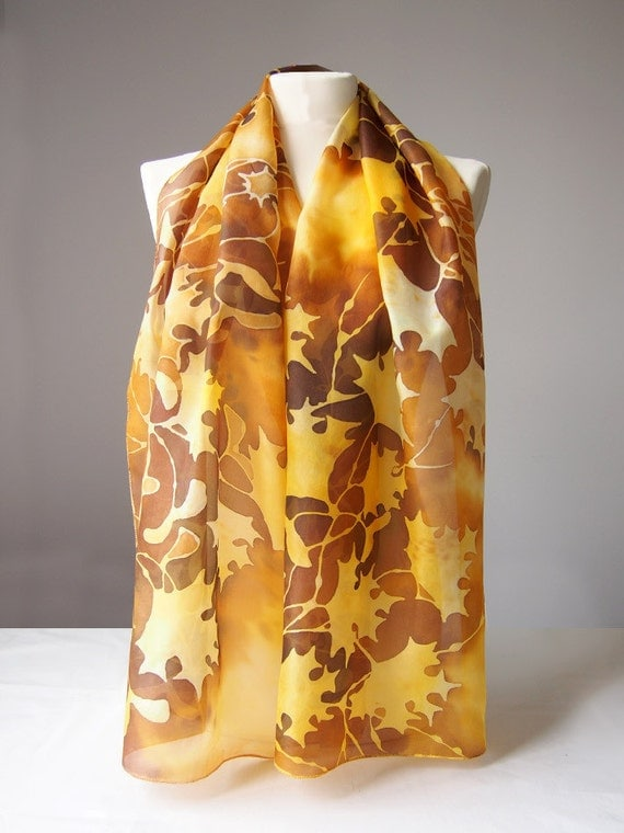 scarf autumn leaves silk scarf maple leaves painted