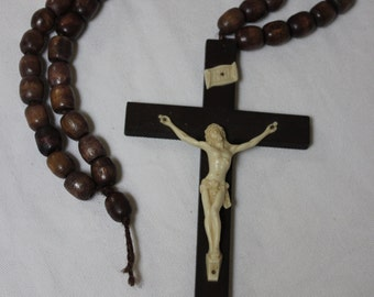 Vintage Crucifix Large Rosary Beads
