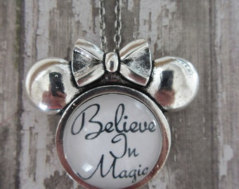 Believe In Magic Minnie Mouse Setting Glass Pendant Necklace