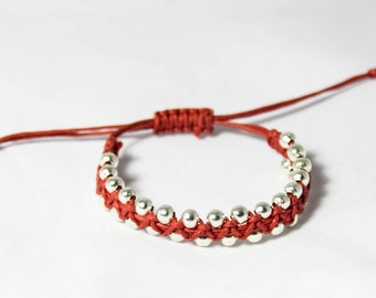 Beaded Bracelet | Macrame Bracelet | Silver bracelet | Friendship bracelet | Beaded macrame bracelet | Bracelet gift | Stackable bracelet