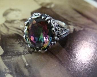 Art Nouveau design Sterling Silver Mystic Topaz Ring  Size 6.75