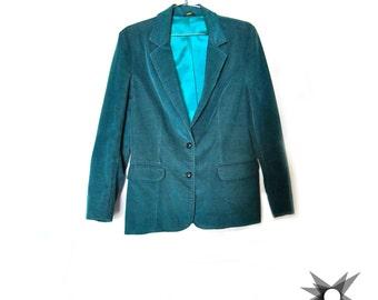 Vintage 1970's/80's Oscar de la Renta Green Corduroy Jacket Blazer Size Medium