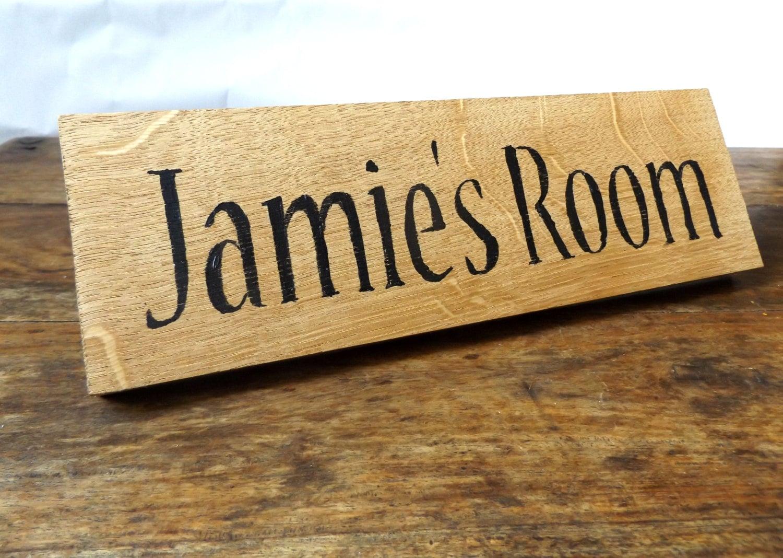 Oak Wood Signs ~ Personalised name room plaque oak wood sign bedroom