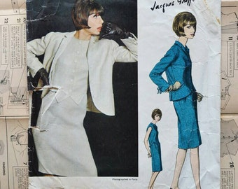 Vogue dress jacket sewing pattern Paris Original Jacques Griffe 1360 Bust 34 inches, Vintage design from the 60s