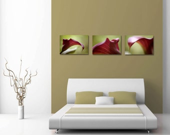 Floral Bedroom Wall Decor Prints, Gallery Wall Set, Flower Photography Prints Set  of 3 Wall Art Prints, Purple Calla Lily Prints