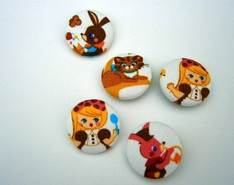 5 Fabric Buttons Alice in Wonderland rabbit cat craft button decorative button handmade 1 1/8 inches