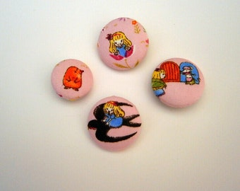 4 Fabric Buttons Thumbelina fairy tales mole swallow frog craft button decorative button handmade 1 1/8 inches +7/8 inches