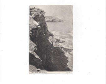 1952 Vintage Black and White Photo Postcard of Hell's Mouth Near Portreath, England, Posted, 2 D Stamps, Chrome-Series, Vintage Postcard