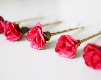 Bridal Hair Clips, red rose clips, wedding hair accessories, wedding flower pins, bridal hair clips, red rose bobby pins - set of five