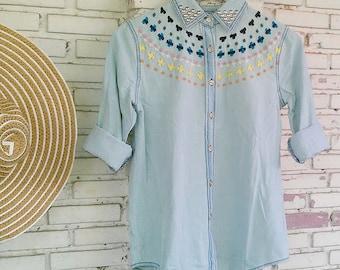 Reworked Studded Denim Shirt / Studded Jean Shirt / Denim Shirt Women Size M