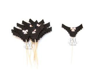 12 Black & Pink Glitter Pantie Cupcake Toppers - Bachelorette Cupcake Topper, Lingerie Cupcake Toppers, Bachelorette Party, Lingerie Party