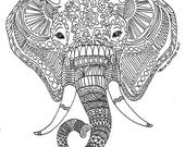 """Printable Zen Critters """"Sun Elephant"""" Coloring Page - Coloring for Adults"""