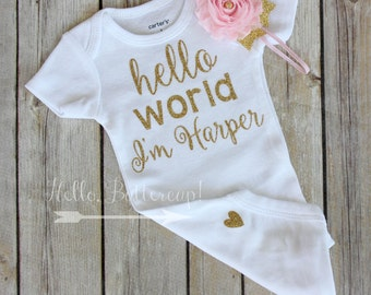 Personalized bodysuit & Headband, Gold glitter take home outfit, Coming Home outfit, Newborn romper, Gold newborn outfit, baby girl outfit