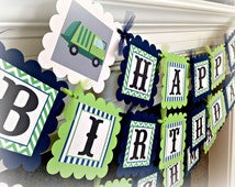 Garbage Truck Happy Birthday Banner - Navy Stripes Lime Green Chevron with grey accents - Party Packs Available