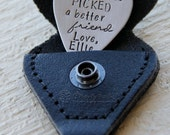 Best Friend Gift - Personalized Hand Stamped Guitar Pick In Black Leather Guitar Pick Holder & Key Ring