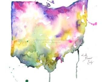 Ohio Map - Print of watercolor illustration
