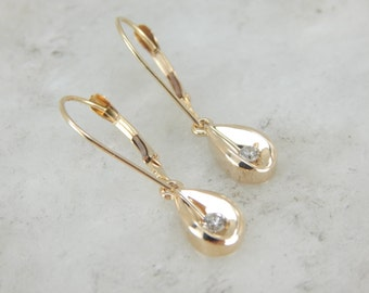 Diamond and Gold Petal Drop Earrings C59VX9-P