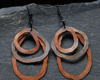 Tribal primitive earrings, Big earrings, Bold statement earrings, Rustic jewelry, Hammered Artisan earrings, Fall colors, Chunky hoops, 1115