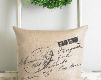 Burlap Collection_French Script 20 x 20 Pillow Cover // Home Decor // Cushion // Throw Pillow // Gift // Present