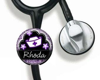 Stethoscope Name Button, Personalized Nurse RN LVN Identification, Badge Name Tag, Stethoscope Name Tag, Medical Field, Gift for Nurse