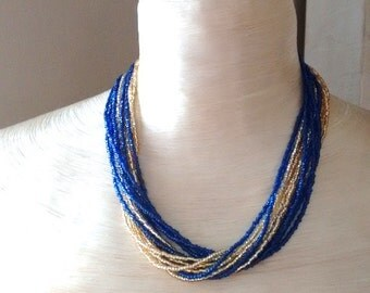 Statement necklace,navy blue and gold necklace,blue necklace,bridesmaid gift,multistrand,beaded necklace, long necklace, llarge, gift ideas