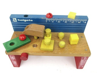Vintage Holgate Wooden Workbench Toy / Holgate Pounding Bench Toy