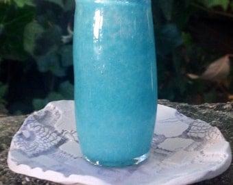 Turquoise Travel Glass Stash Jar
